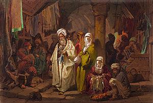 Bazaar - The Grand Bazaar, Istanbul, by Amadeo Preziosi, late 19th century