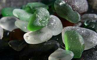 Sea glass - Green and white sea glass.