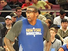 Stoudemire ai Knicks nel 2010, durante il riscaldamento