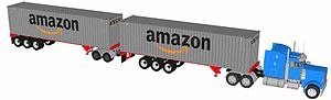 Amazon (company) - Amazon 40' container turnpike double, a long combination vehicle