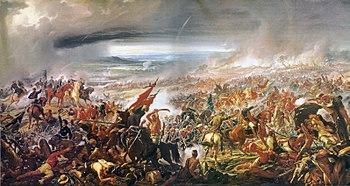 Batalha do Avaí, óleo de Pedro Américo sobre um dos últimos episódios da Guerra do Paraguai, ocorrido em 11 de dezembro de 1868, onde o 3°Corpo de Exército, sob o comando do Marechal Osório, cobriu-se de glórias (Museu Nacional de Belas-Artes, Rio de Janeiro.)
