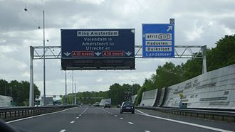 European route E35 in the Netherlands - E 35 approaching exit 117 from the west, concurrent with A10