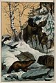 An elk and its young walking through a snowy landscape, with Wellcome V0021371.jpg