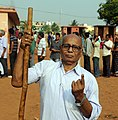 An old man voter showing mark of indelible ink after casting his vote, at a polling booth, during the 5th Phase of General Elections-2014, at Ekamra-Bhubaneswar, Odisha on April 17, 2014.jpg
