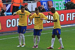 André Santos celebrates a goal for Brazil against Scotland 2b2c7d0fe9db7