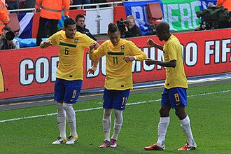 Goal celebration - Neymar, Ramires and André Santos celebrating a goal with a dance