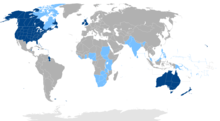 Map of the world showing countries in which English is the official language. Where is it an official, but not primary, language is is shown in light blue.