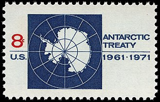 Antarctic Treaty issue - Image: Antarctic Treaty 8c 1971 issue U.S. stamp