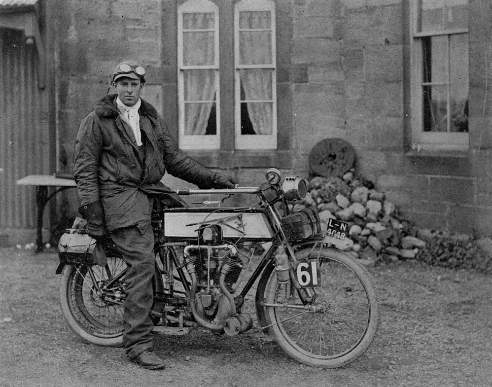 Anthony Frederick Wilding on a motorcycle
