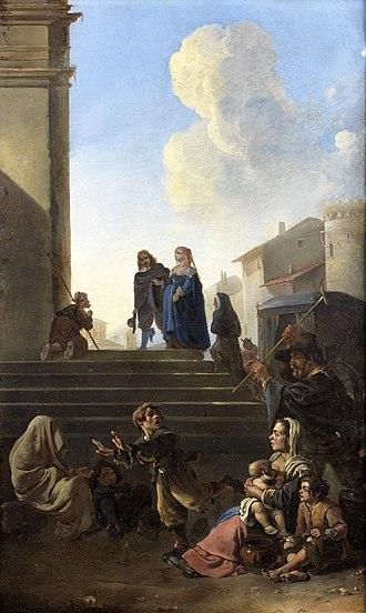 Anton Goubau - Peasants before church steps