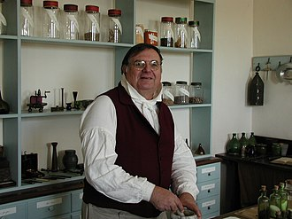 Old Salem - A museum interpreter explains aspects of a 19th-century apothecary in Old Salem.