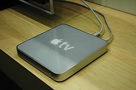 Eerste generatie Apple TV op de Macworld-conferentie in 2007