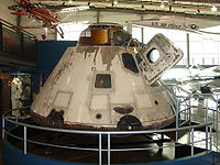 The Apollo 7 CM as exhibited at The Frontiers of Flight Museum