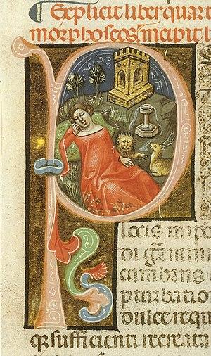 farbige Illustration einer rot gekleideten Frau im Garten