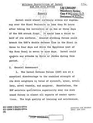 """Origins of the Six-Day War - CIA Analysis of the 1967 Arab-Israeli War. The first page of the draft of the """"special estimate"""" that predicted the outcome of the war"""