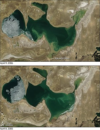 Aral Sea - Comparison of the North Aral Sea before (below) and after (above) the construction of Dike Kokaral completed in 2005.