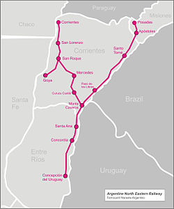 Argentine North Eastern Railway Wikipedia - Argentina rail network map