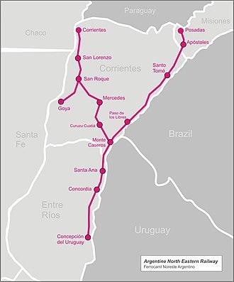 Argentine North Eastern Railway - Image: Arg north eastern railw map