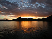 One of the many artificial lakes in Arizona at sunset