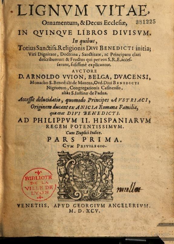 Arnold Wion - Lignum Vitae - 1595 - p000