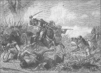 Military career of Benedict Arnold, 1781 - Engraving depicting Arnold leading the attack on the redoubt at 2nd Saratoga