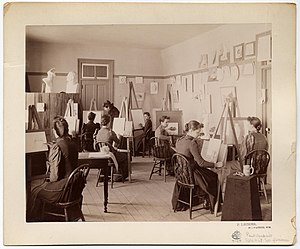 Deaf culture - Women's art class at State School of the Deaf, Delavan, Wisconsin, c. 1880