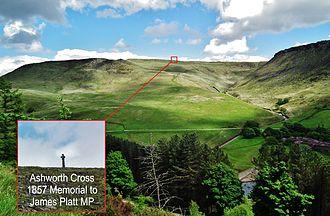 Dovestone Reservoir - The Ashworth Cross memorial to James Platt MP 1857