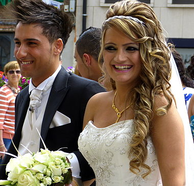 A newly married Assyrian couple. Assyrian wedding, Mechelen.jpg