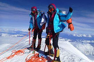 Tashi and Nungshi Malik - At summit of Mount McKinley, Alaska