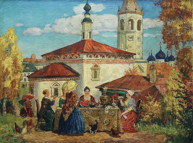 File:At the Old Suzdal. Kustodiev.jpg