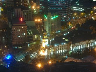 Auckland Town Hall - Overhead view of the Town Hall at night