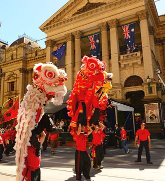 Chinese Australians - Chinese Australians taking part in the Australia Day parade in Melbourne (2014)