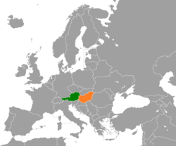 Map indicating locations of Austria and Hungary