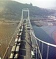 Az Erzsébet híd terheléspróbája a pesti kapuzatról a budai hídfő felé nézve. Fortepan 59960.jpg