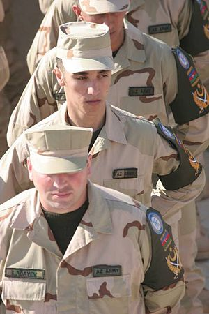 Azerbaijani peacekeeping forces - Azeri peacekeepers during a ceremony recognizing their contribution to Operation Iraqi Freedom at Camp Ripper in Al Asad.