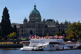 Legislative Assembly of British Columbia - The Legislative Buildings, Victoria, British Columbia. (Pacific Undersea Gardens also pictured.)