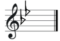 B flat major key signature on treble clef.png
