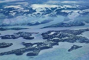 Nordostküste der Baffin-Insel aus 11.500 Metern Höhe