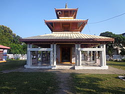 The photo shows the Baglamukhi Temple which is the most popular temple among people in the Bardiya District region.