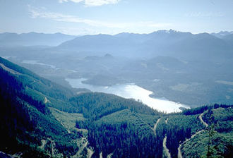 Baker Lake (Washington) - Baker Lake viewed from the eastern slope of the valley, looking southwest