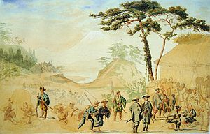 Boshin War - Bakufu troops near Mount Fuji in 1867. The painting by French officer Jules Brunet shows an eclectic combination of Western and Japanese equipment.