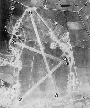 RAF Balderton - RAF Balderton, taken 18 April 1944 oriented eastward (top).   As part of the buildup to D-Day, the 439th Troop Carrier Group has large numbers of C-47s and CG-4 Horsa Gliders parked on the grass interior of airfield as well as on the dispersal loops along the perimeter track.