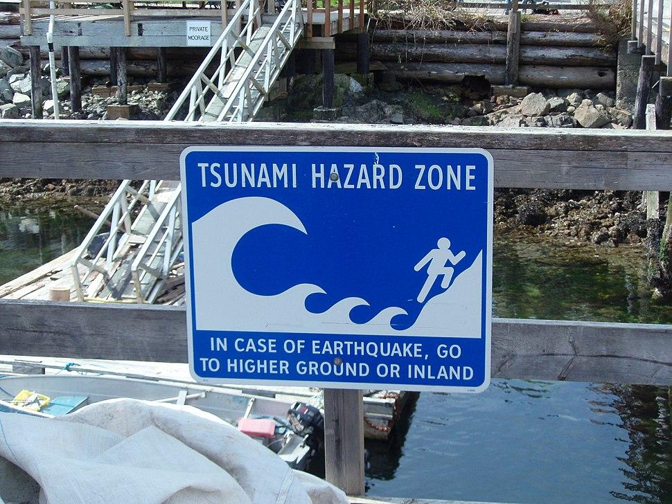 Bamfield Tsunami Hazard Zone sign