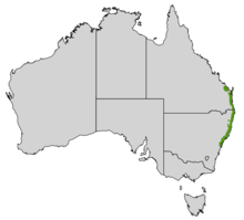 Map of Australia with a green stripe straddling the eastern coastline