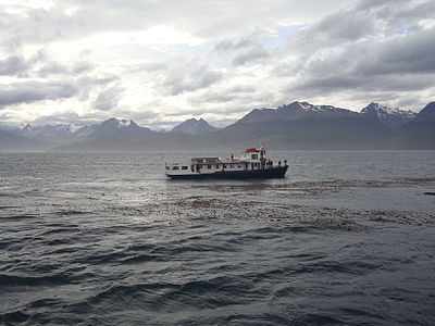 Ship crossing the Beagle Channel.