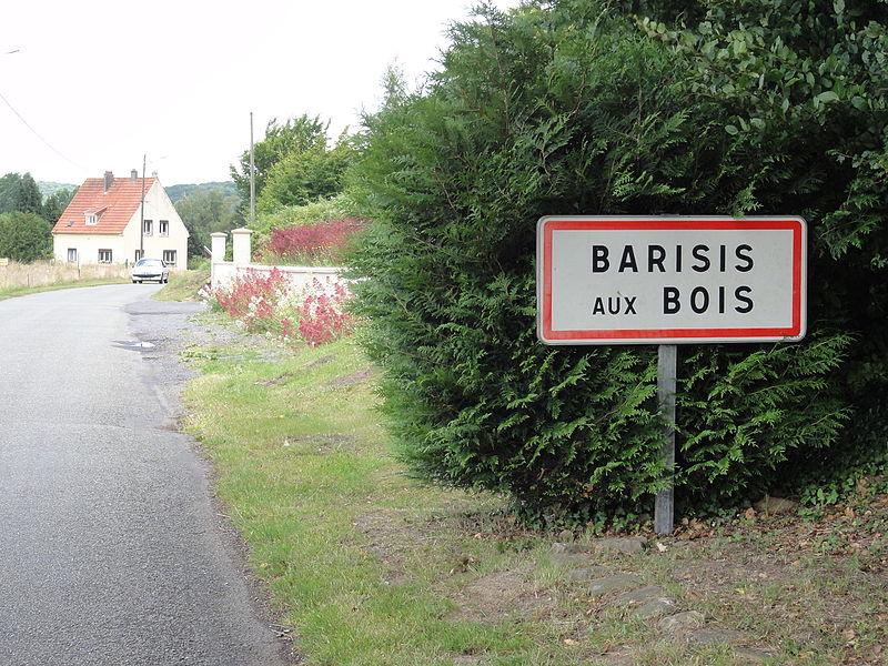 Barisis-aux-Bois (Aisne) city limit sign