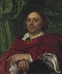 Portrait of a gentleman holding a feathered had in his right hand