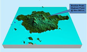 Basilan - Topographical map of Basilan and outlying islands