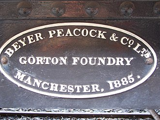 Gorton - Beyer, Peacock locomotive plate