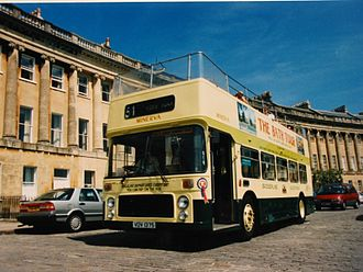 Badgerline - Eastern Coach Works bodied Bristol VRT open top bus in joint Guide Friday livery in Bath